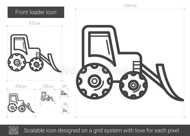 Främre laddarlinje symbol stock illustrationer