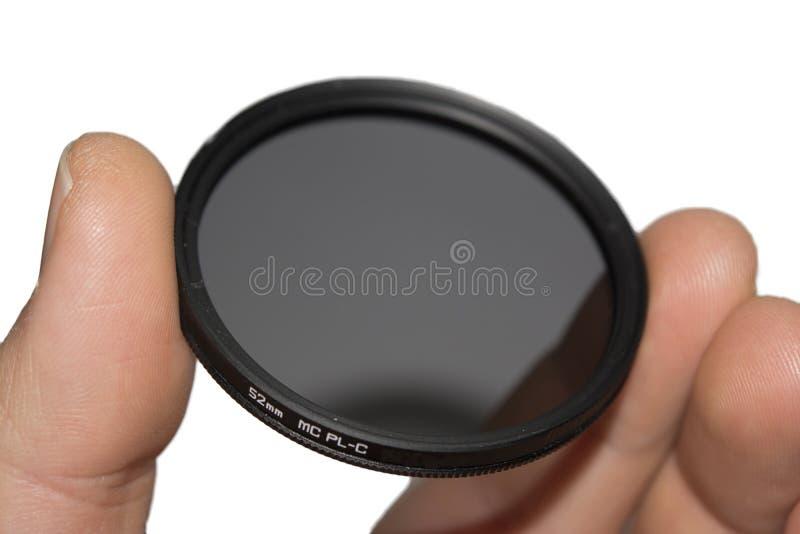 Främre Lens - monterade det polariserade cirkelfiltret för dslrkameror arkivfoton