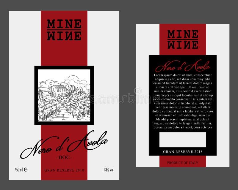 Främre och bakre av den moderna vinetikettmallen royaltyfri illustrationer