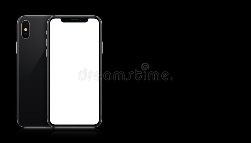 Främre och tillbaka sidor för ny modern svart smartphonemodell på svart bakgrund med kopieringsutrymme stock illustrationer