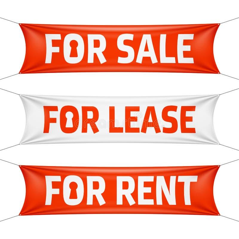 Främre Sale, för arrende och för hyrabaner royaltyfri illustrationer