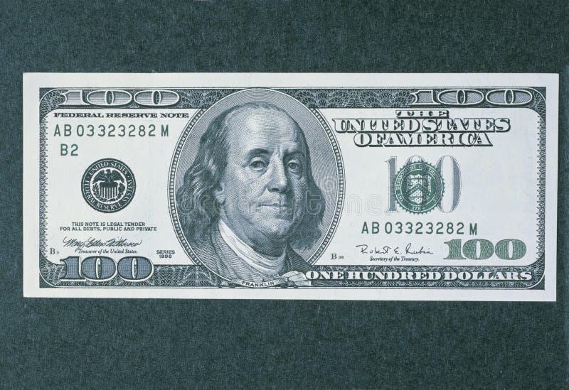 Främre sida av den nya billen för dollar 100 royaltyfria foton