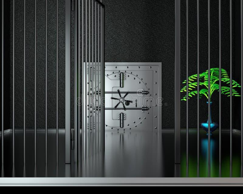 Främre sikt av dörren för krombankvalv som stängs 3d framför stock illustrationer