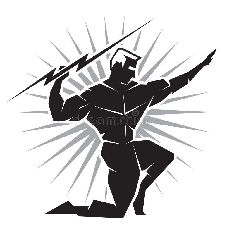 Främre sikt av den grekiska guden Zeus royaltyfri illustrationer
