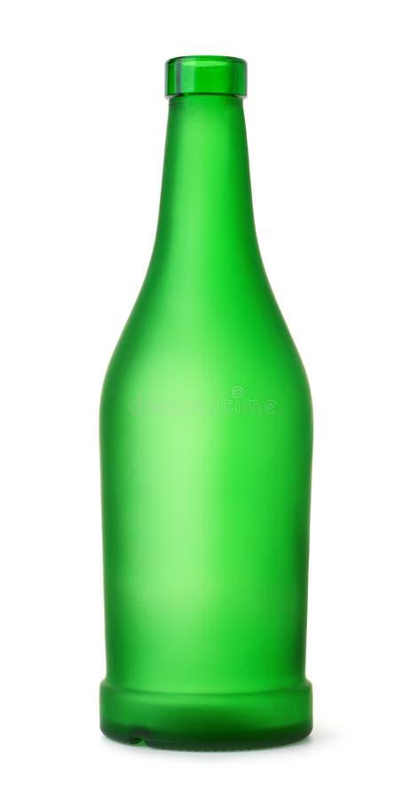 Främre sikt av den tomma gröna matt flaskan fotografering för bildbyråer