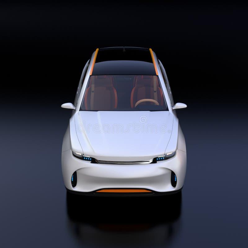 Främre sikt av den vita elektriska SUV begreppsbilen som isoleras på svart bakgrund stock illustrationer