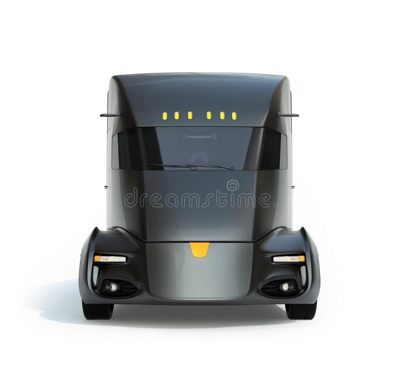Främre sikt av denkörande elektriska halva lastbilen som isoleras på vit bakgrund royaltyfria foton