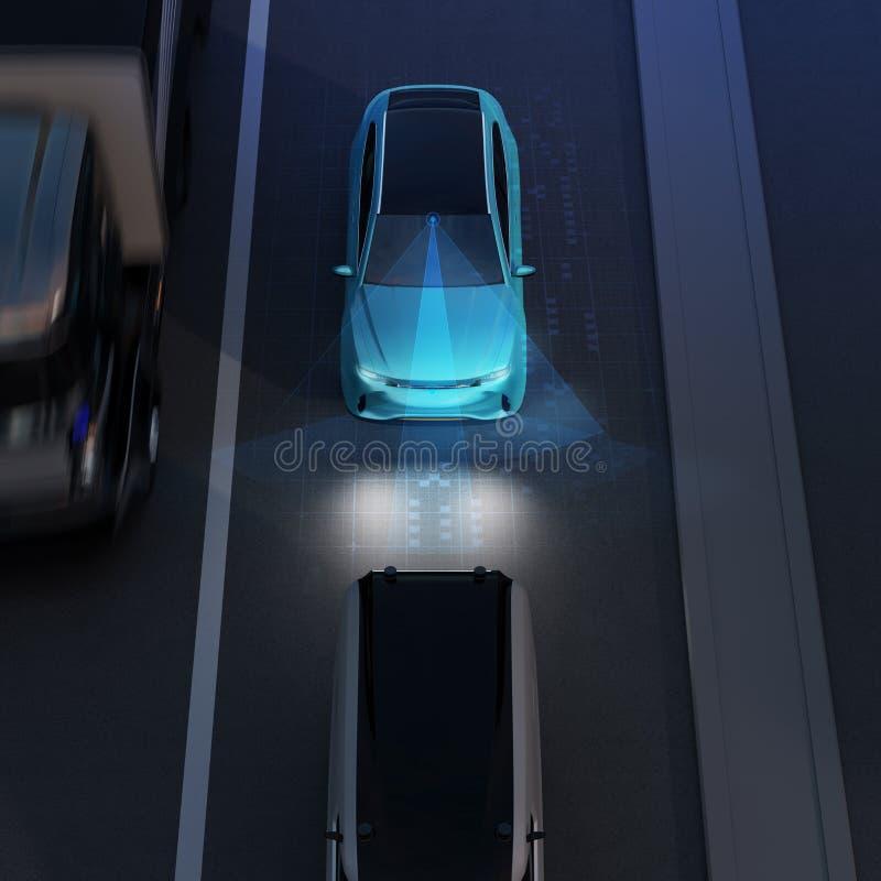 Främre sikt av det blåa SUV nödläget som bromsar för att undvika bilkrasch royaltyfri illustrationer