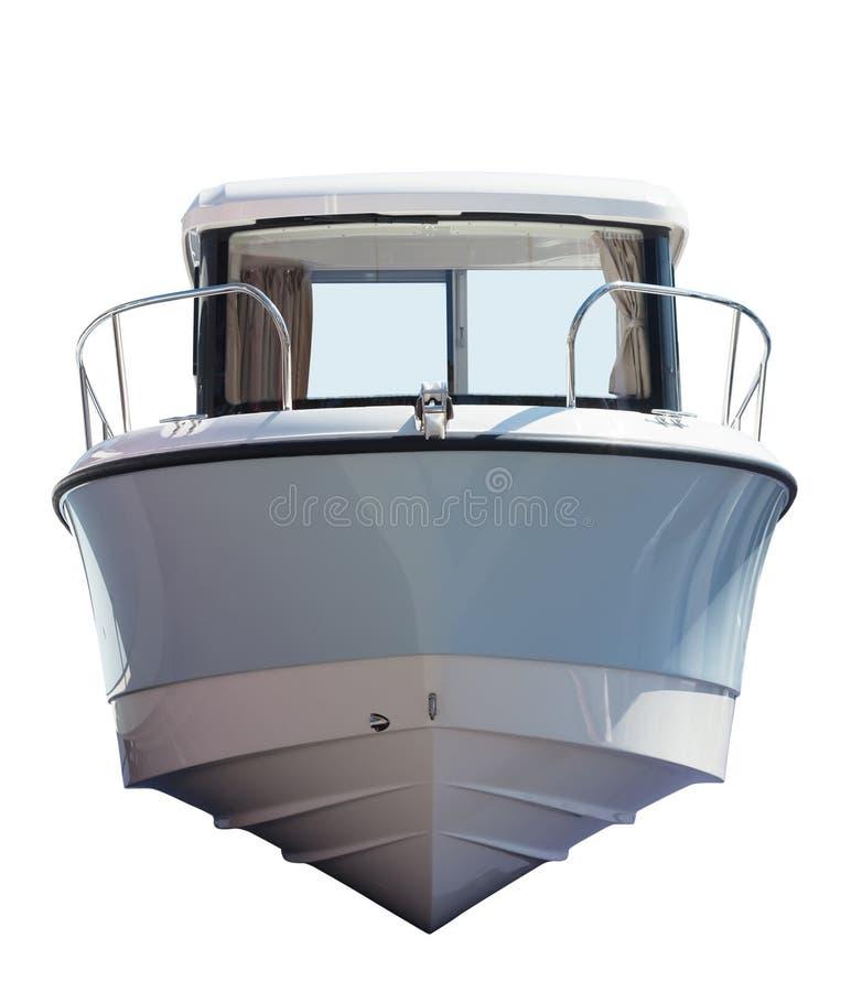 Främre sikt av det motoriska fartyget. Isolerat över vit arkivbild