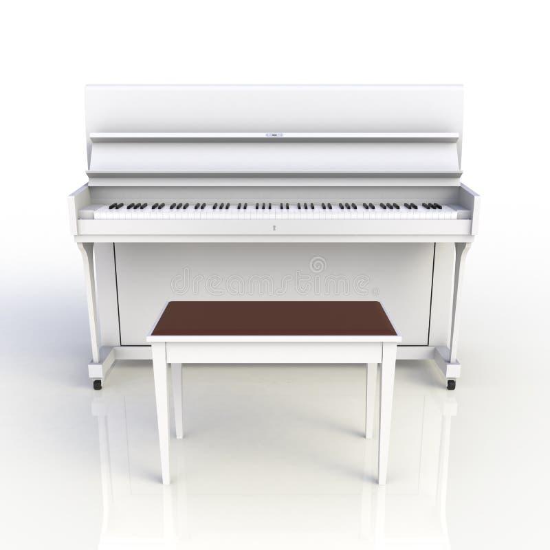 Främre sikt av det vita pianot för klassiskt musikinstrument som isoleras på vit bakgrund, tangentbordinstrument stock illustrationer