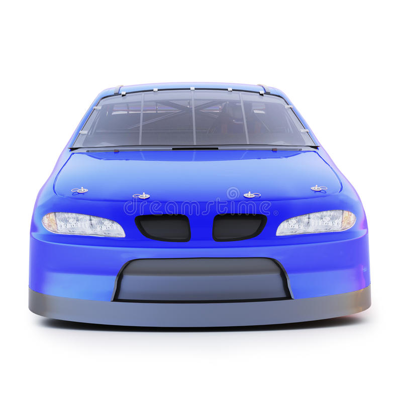 Främre sikt av en auto tävlings- bil för blå generisk motorsports på en isolerad vit bakgrund stock illustrationer