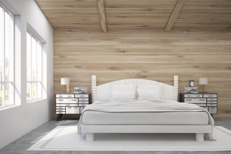 Främre sikt av en dubbelsäng i ett rum med det träväggar och taket vektor illustrationer