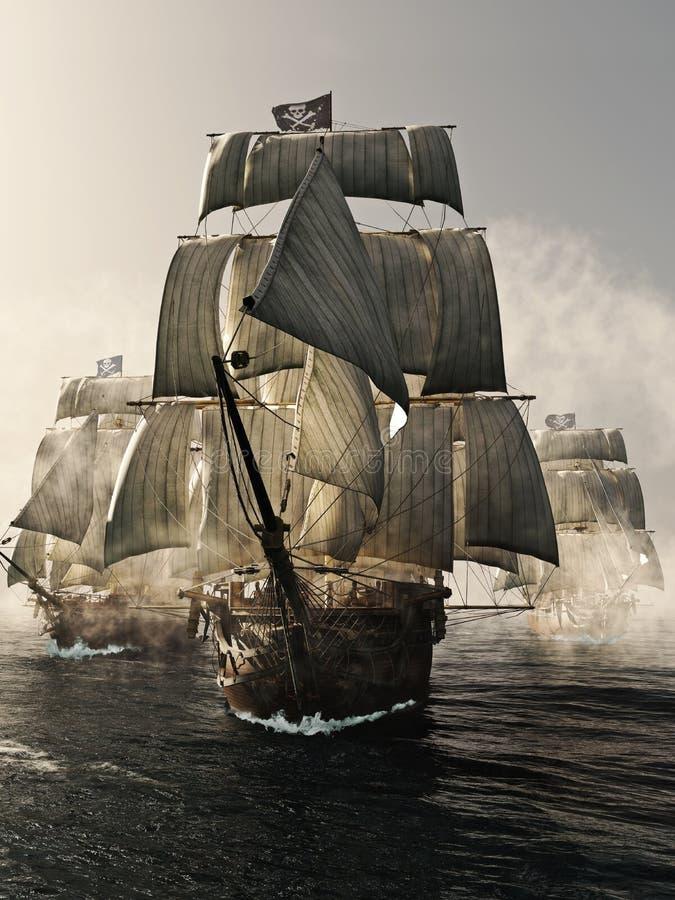 Främre sikt av en hastig piercing för piratkopieraskepp till och med dimman stock illustrationer