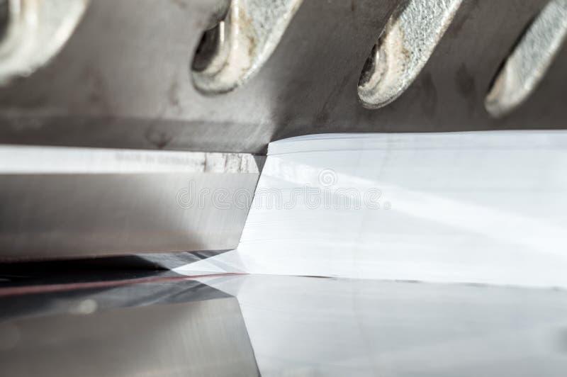 Främre sikt av en pappers- giljotin royaltyfria bilder