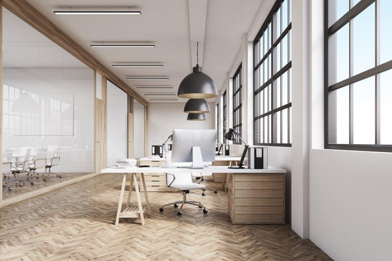 Främre sikt av ett långt kontor med trägolvet vektor illustrationer