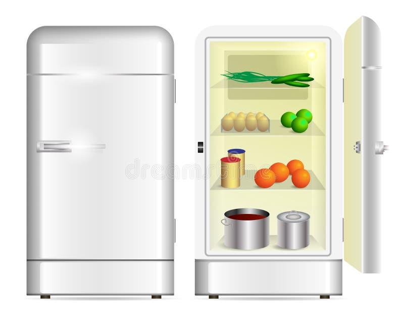 Främre sikt av ett retro kylskåp stock illustrationer