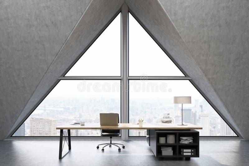Främre sikt av ett vdkontor med det triangulära fönstret royaltyfri illustrationer