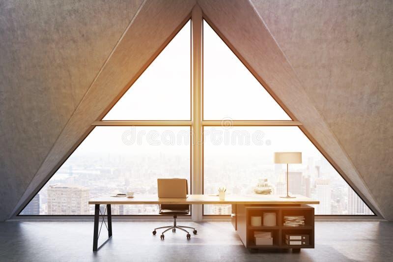 Främre sikt av ett vdkontor med det triangulära fönstret som tonas stock illustrationer