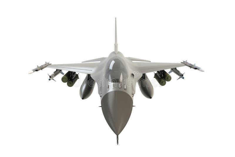 Främre sikt av F16, amerikansk militär kämpenivå på vit bakgrund vektor illustrationer