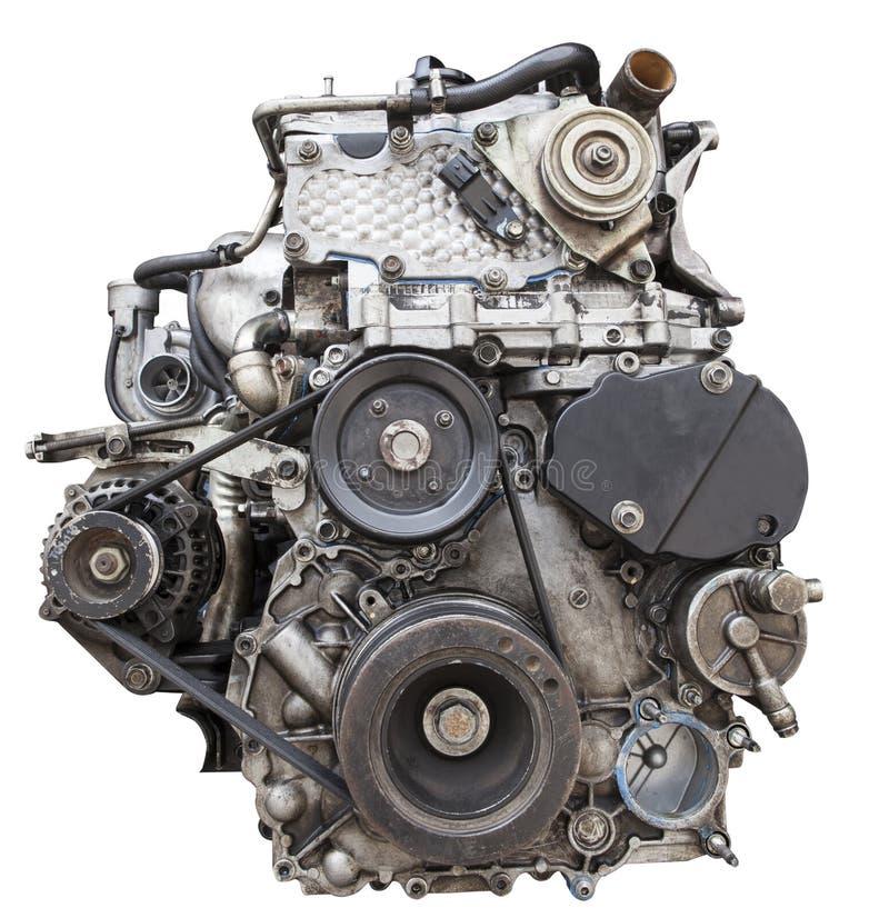 Främre sikt av gammal dieselmotor isolerat vitt bakgrundsbruk fo arkivfoto