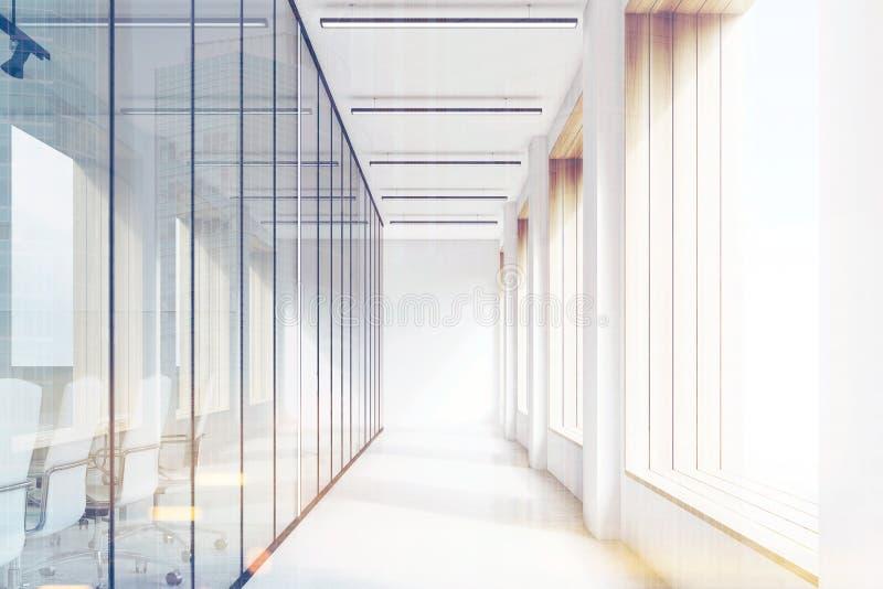 Främre sikt av kontorskorridoren, exponeringsglas, affisch, signal royaltyfri illustrationer