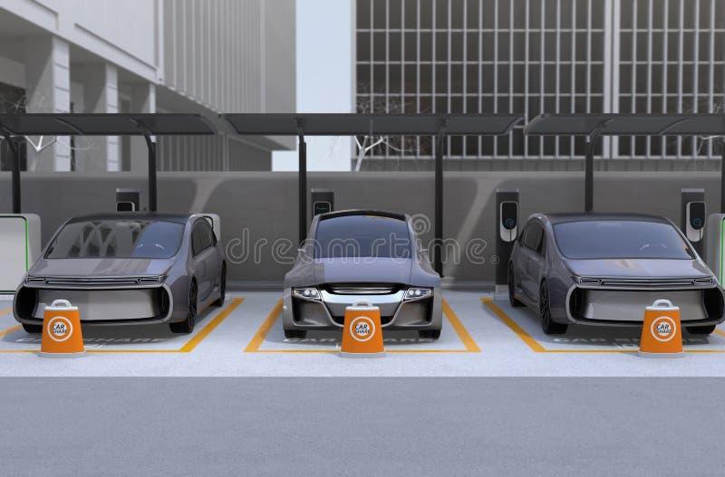 Främre sikt av själven som kör bilen som är tillgänglig för att dela stock illustrationer