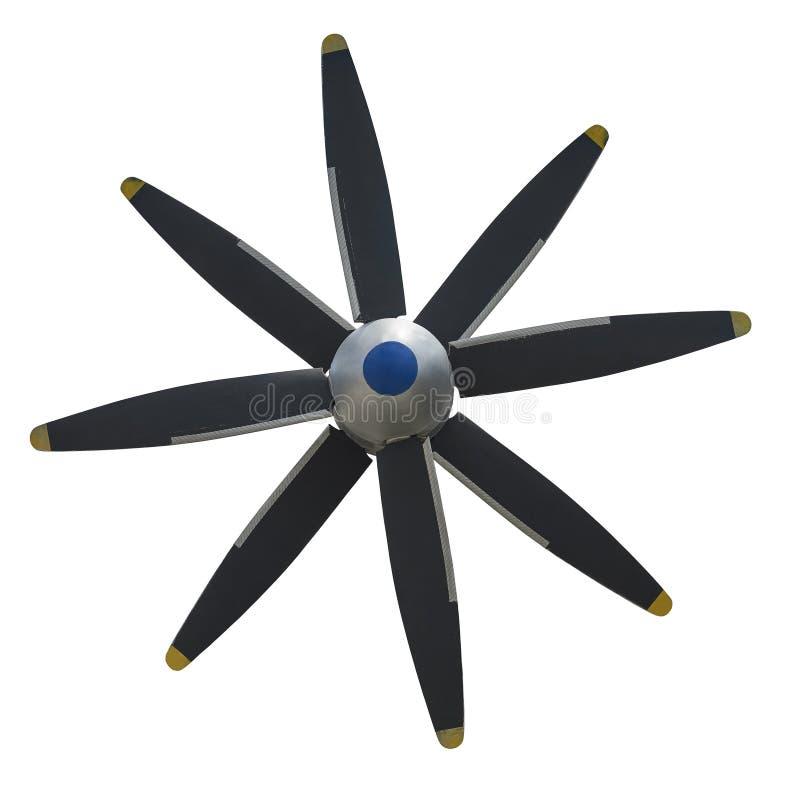 Främre sikt av skruven för propeller för svart för fraktnivå med silverräkningslocket Gammal sliten flygplanluftskruv av motordel royaltyfri fotografi