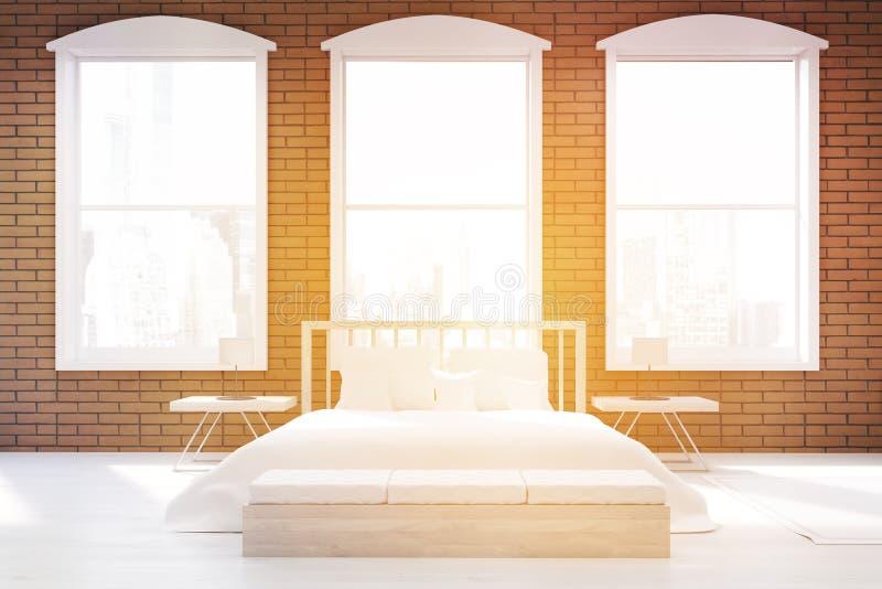 Främre sikt av solbelyst säng och tre fönster stock illustrationer