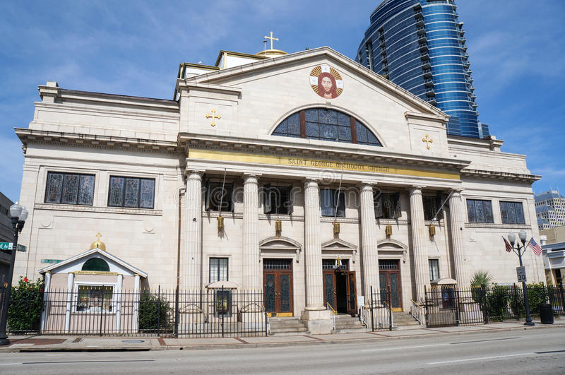 Främre sikt av St George Antiochian Orthodox Church på Orlando Florida Downtown Orlando, Florida, Förenta staterna arkivbilder