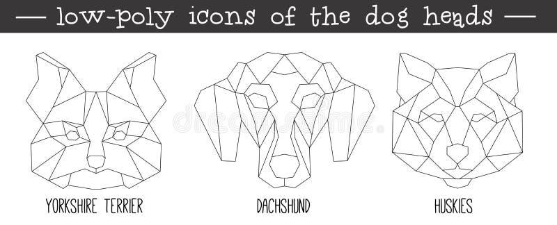 Främre sikt av uppsättningen för symbol för hundhuvud den triangulära vektor illustrationer