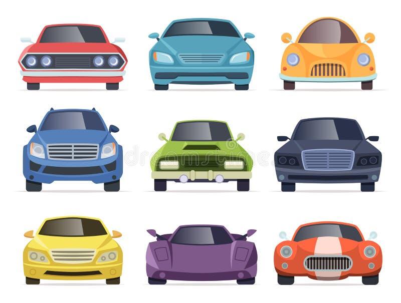 Främre sikt för bilar För skåpbil medel för taxilastbilbuss samling för tecknad film transport vektor illustrationer