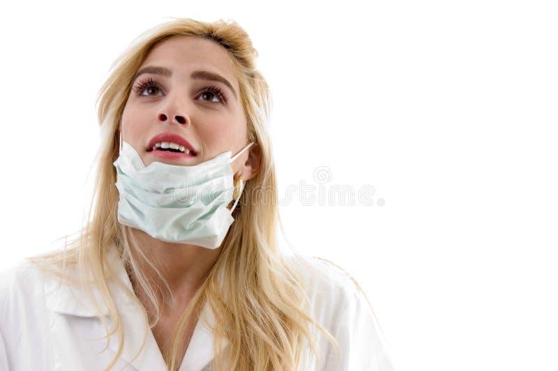 främre sikt för doktorsfacemask royaltyfria foton