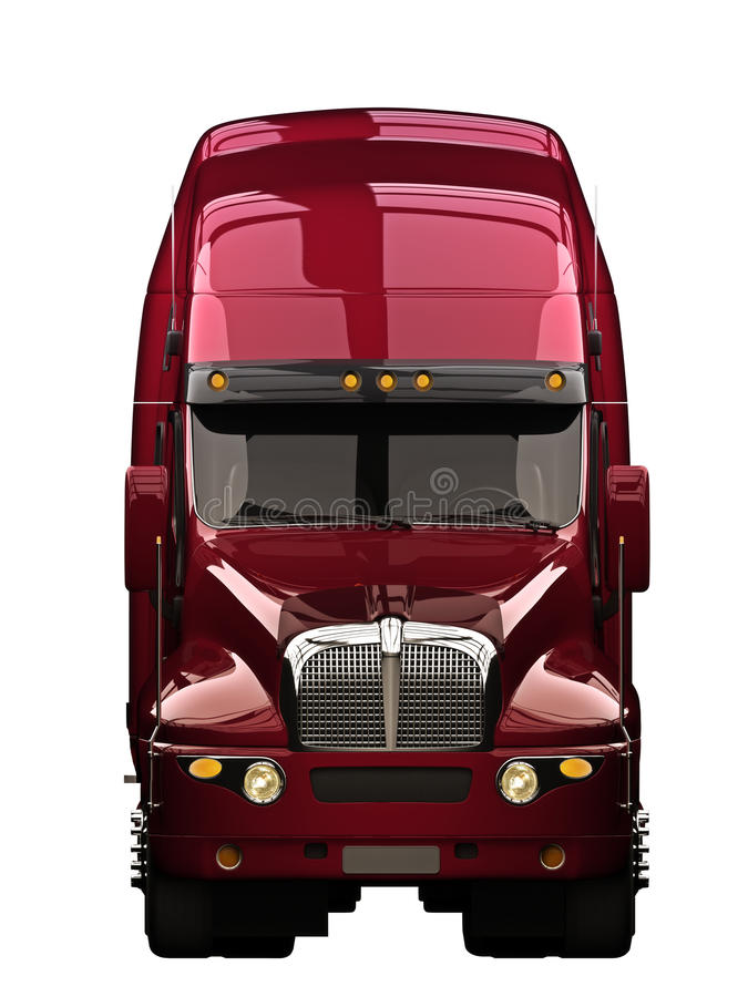Främre sikt för halv lastbil stock illustrationer