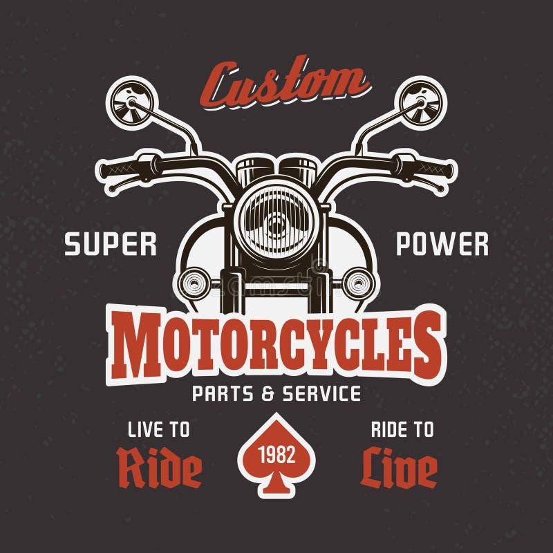 Främre sikt för motorcykel på mörkt vektort-skjorta tryck royaltyfri illustrationer