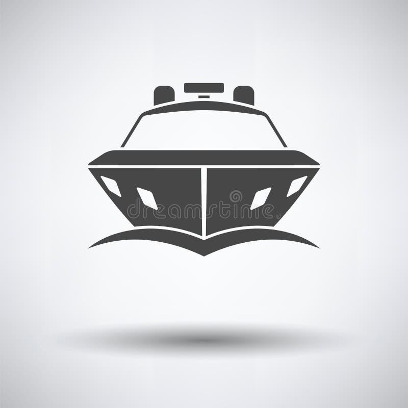 Främre sikt för motoryachtsymbol vektor illustrationer