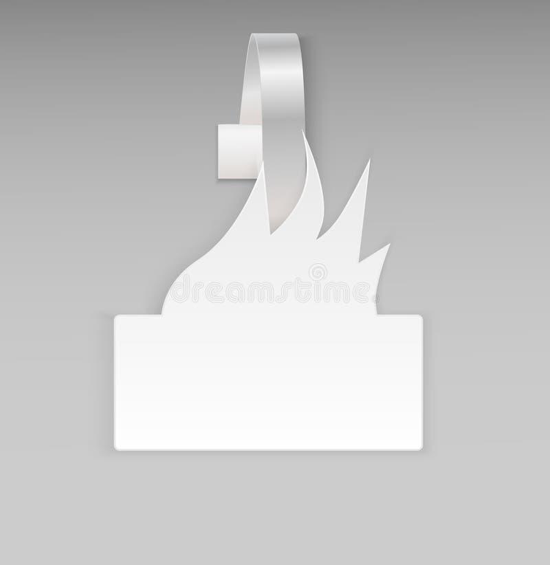 Främre sikt för tom för vektormellanrum som vit varm för brand för papper plast- för advertizing wobbler för pris isoleras på grå vektor illustrationer