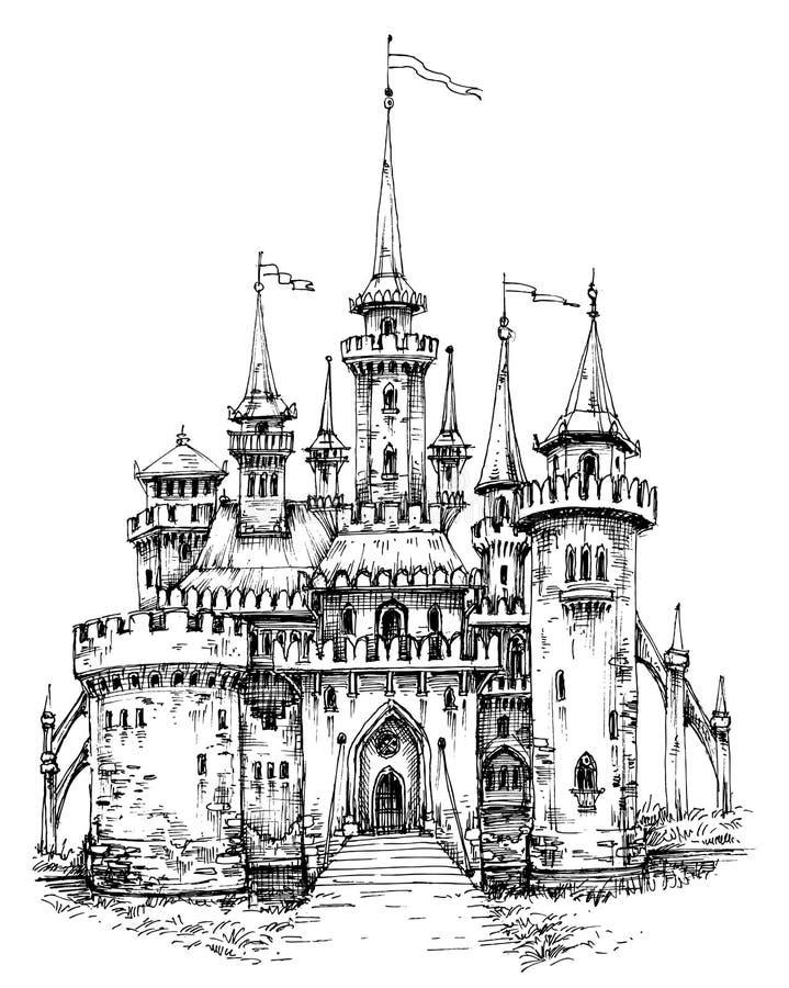 Främre sikt för vektorslott royaltyfri illustrationer