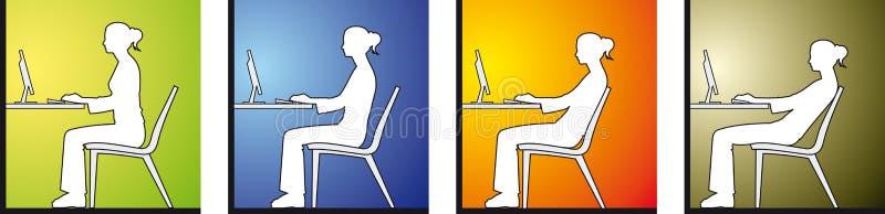 främre sittande kvinna för dator stock illustrationer