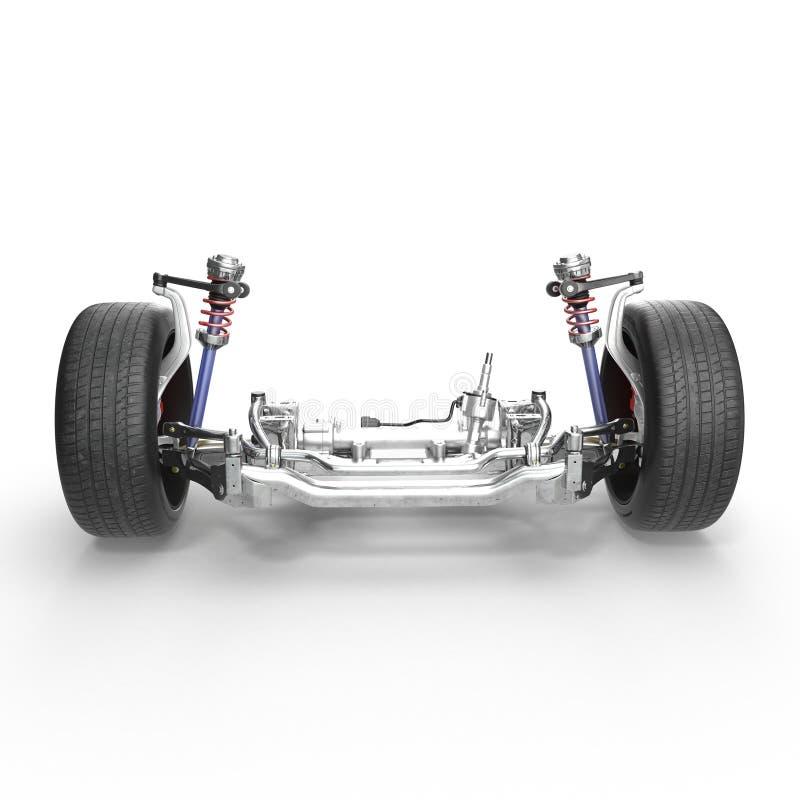 Främre upphängning för Sedan med det nya gummihjulet på vit illustration 3d royaltyfri illustrationer