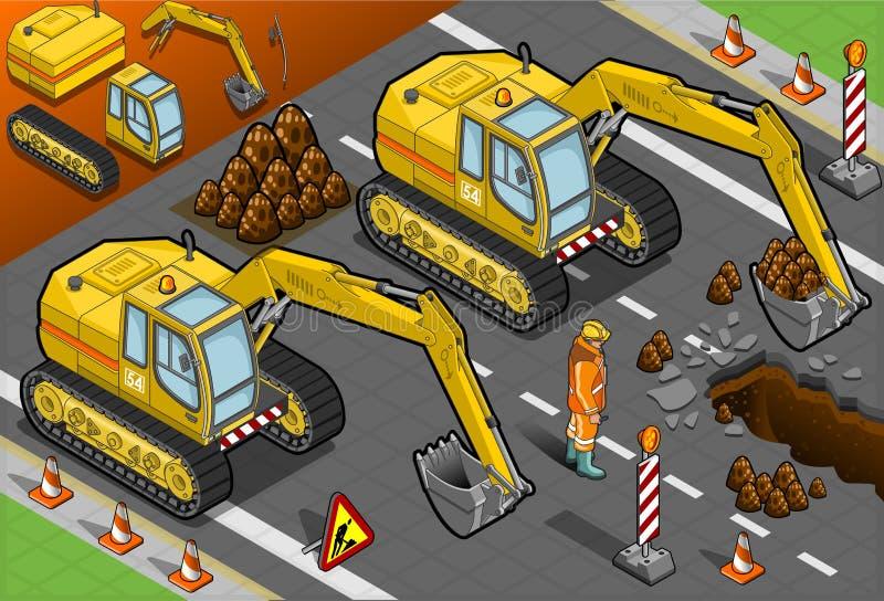 Främst sikt för isometrisk gul grävskopa stock illustrationer