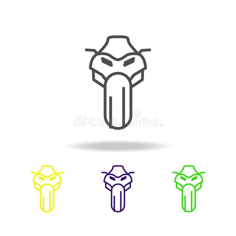 främsta kulöra symboler för motorcykel Beståndsdel av mopeden för mobil begrepps- och rengöringsdukappsillustration Gör linjen sy vektor illustrationer
