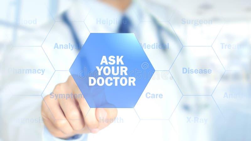 Fråga din doktor, manipulera arbete på den holographic manöverenheten, rörelsediagram royaltyfri foto