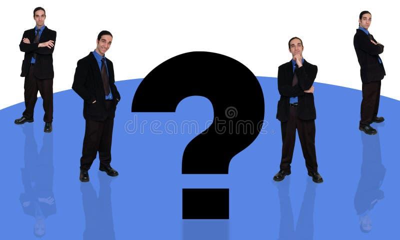 fråga för 4 affärsman vektor illustrationer