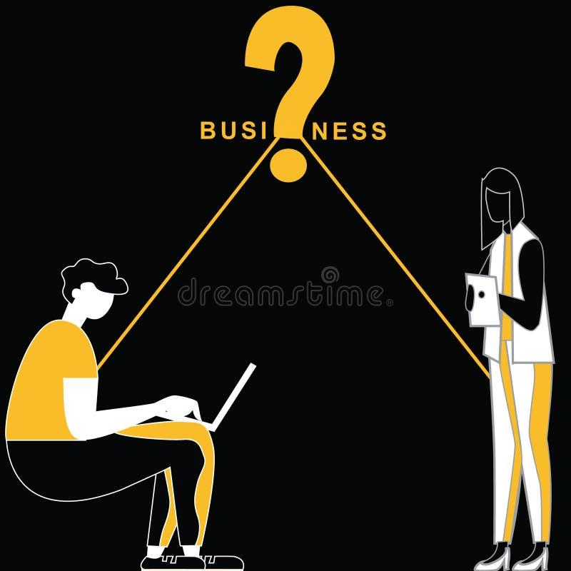Fråga för affärstillfälle bland folk royaltyfri illustrationer