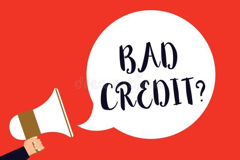 Fråga för kreditering för handskrifttext dålig Menande historia för begreppet, när det indikerar att låntagaren har höjdpunkt - r royaltyfri illustrationer