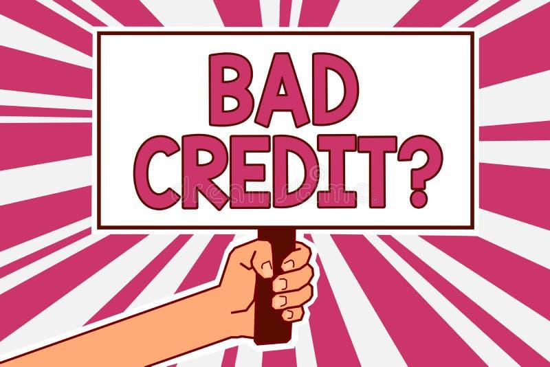 Fråga för kreditering för ordhandstiltext dålig Affärsidéen för historia, när den indikerar att låntagaren har höjdpunkt - risker vektor illustrationer