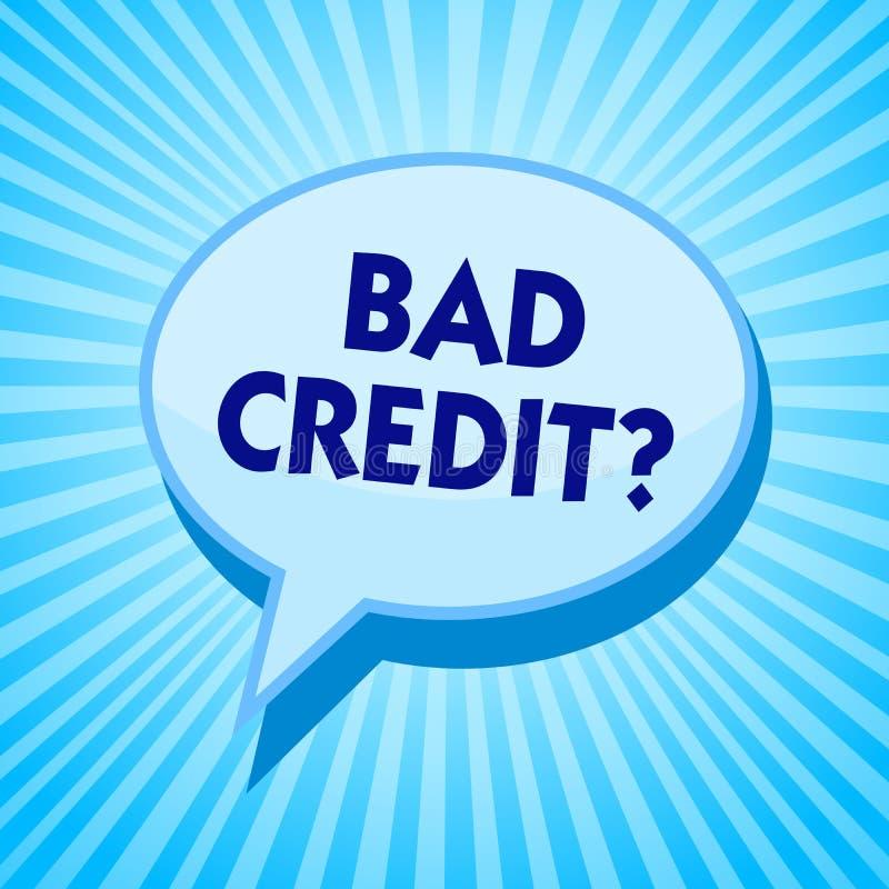 Fråga för kreditering för ordhandstiltext dålig Affärsidéen för historia, när den indikerar att låntagaren har höjdpunkt - risker stock illustrationer