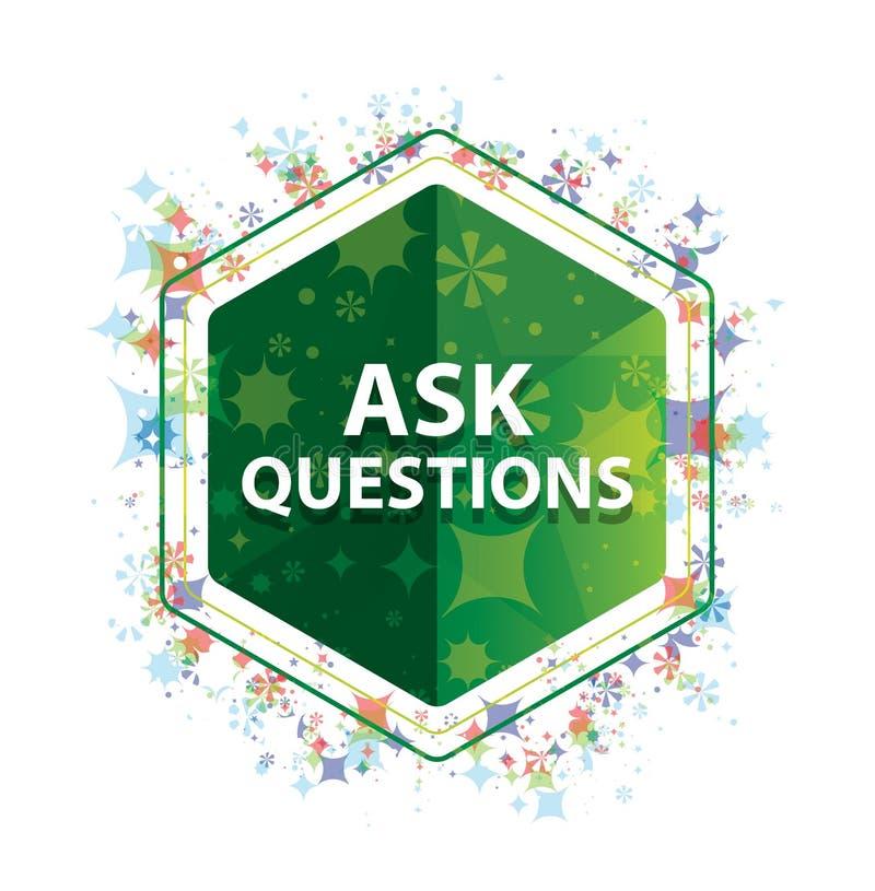 Fråga frågor den blom- knappen för sexhörningen för växtmodellgräsplan vektor illustrationer
