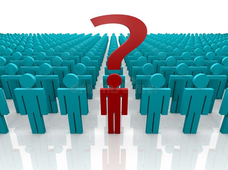 fråga individuell fråga stock illustrationer