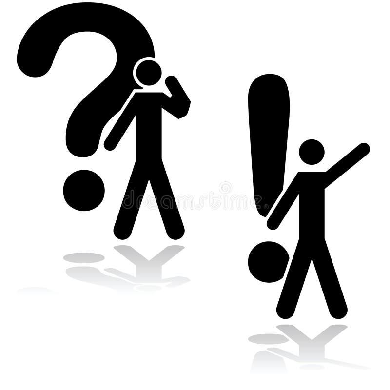 Fråga och lösning stock illustrationer